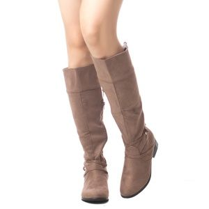 Women's Tall Suede Knee High Chunky Heel Boots